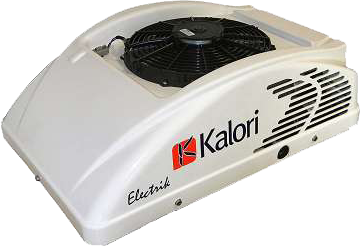 Fully self-contained 12V or 24V DC, roof air-conditioner Kalori Electrik