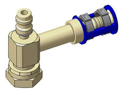 Female O'ring Fittings to Clip: 45° female O'ring fitting with R134a port